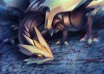blurry cracked_floor from_above gen_5_pokemon glowing glowing_eyes kyurem looking_away looking_to_the_side muuran no_humans pokemon pokemon_(creature) signature solo yellow_eyes
