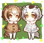 2girls :o bird_tail brown_eyes brown_hair brown_jacket chibi commentary_request eurasian_eagle_owl_(kemono_friends) eyebrows_visible_through_hair fur_collar green_background grey_eyes jacket kemono_friends looking_at_viewer multiple_girls northern_white-faced_owl_(kemono_friends) pantyhose parted_lips shoes short_hair sibyl white_footwear white_legwear
