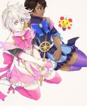 2boys absurdres ahoge alternate_costume aqua_eyes arjuna_(fate/grand_order) bangs bare_shoulders blue_bow blue_dress blue_footwear blue_ribbon bow brooch brown_eyes brown_hair closed_mouth collarbone commentary crossdressing dark_skin dark_skinned_male detached_sleeves dress dress_bow echo_(a19986536) expressionless eyebrows_visible_through_hair eyeliner fate/grand_order fate_(series) frilled_dress frills gold_trim hair_between_eyes hands_up high_heels highres holding jewelry karna_(fate) kneeling large_bow looking_at_viewer looking_to_the_side looking_up makeup male_focus multiple_boys pale_skin parted_bangs petticoat pink_bow pink_dress pink_legwear pink_ribbon puffy_detached_sleeves puffy_short_sleeves puffy_sleeves purple_legwear ribbon short_dress short_sleeves simple_background spread_legs thigh-highs turtleneck v_arms wavy_hair white_background white_footwear white_hair zettai_ryouiki