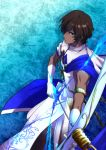 1boy absurdres aqua_background arjuna_(fate/grand_order) bangs bow_(weapon) brown_hair character_name closed_mouth commentary_request dark_skin dark_skinned_male elbow_gloves fate/grand_order fate_(series) from_above from_side frown gloves hair_over_one_eye hands_up highres holding holding_bow_(weapon) holding_weapon looking_at_viewer male_focus muscle parted_bangs serious shiny shiny_hair simple_background sleeveless solo standing wavy_hair weapon white_gloves