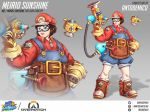 1girl absurdres antonio_demico brown_eyes brown_hair commentary concept_art cosplay crossover english_commentary f.l.u.d.d. full_body goggles gun handgun highres holding holding_weapon lips mario mario_(cosplay) mario_(series) mei_(overwatch) overalls overwatch short_hair snowball_(overwatch) solo super_mario_sunshine weapon