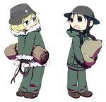 2girls black_hair blonde_hair blue_eyes chito_(shoujo_shuumatsu_ryokou) fur_trim gloves helmet jitome long_hair military military_uniform multiple_girls open_mouth shoujo_shuumatsu_ryokou simple_background stahlhelm tanuki_yatsu uniform white_background yuuri_(shoujo_shuumatsu_ryokou)