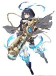 1girl absurdres black_capelet black_footwear black_gloves black_hair black_shirt blue_hairband breasts cleavage cutout gloves gun hairband highres holding holding_gun holding_weapon hood magic shirt short_hair simple_background sinoalice small_breasts solo torn_capelet weapon white_background