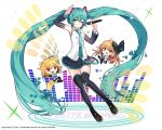 2016 absurdly_long_hair aqua_hair blonde_hair boots brown_hair character_name chibi cosplay detached_sleeves electric_guitar floating_hair full_body green_eyes guitar hatsune_miku hatsune_miku_(cosplay) headphones instrument kai-ri-sei_million_arthur long_hair microphone necktie one_eye_closed open_mouth pleated_skirt salute skirt smile tail thigh-highs thigh_boots togo_(korlsj1235) triangle_(instrument) twintails very_long_hair vocaloid white_background