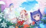 3girls :3 angel_wings black_choker blue_eyes blue_hair blue_sky blush braid breasts cherry_blossoms choker closed_mouth clothes_writing clouds commentary elbow_gloves elu_(nijisanji) fairy_wings flower french_braid gloves grass hair_flower hair_ornament koko_(koko3) large_breasts leaves_in_wind light_blue_hair long_hair moira_(nijisanji) mole mole_under_mouth multiple_girls nijisanji open_mouth outdoors pointy_ears rainbow short_sleeves side_ponytail sky smile tokyo_tower twintails virtual_youtuber white_gloves wings yellow_eyes yuuki_chihiro