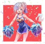 1girl blue_eyes cheerleader hair_bun hair_over_one_eye iesupa pom_poms rwby solo white_hair winter_schnee