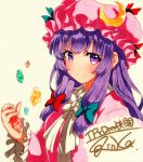 1girl bangs blue_bow blush bow bowtie closed_mouth crescent crescent_moon_pin eyebrows_visible_through_hair hair_bow hat holding long_hair long_sleeves looking_at_viewer mob_cap patchouli_knowledge pink_hat purple_hair qqqrinkappp red_bow shikishi sidelocks signature simple_background smile solo touhou traditional_media upper_body violet_eyes white_bow