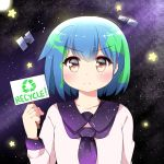1girl agung_syaeful_anwar blue_hair blush closed_mouth commentary earth-chan eyebrows_visible_through_hair green_hair holding holding_sign original purple_sailor_collar recycling_symbol sailor_collar satellite school_uniform serafuku shirt short_hair sign solo space star star_print upper_body v-shaped_eyebrows white_shirt