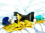 1other androgynous bed_sheet blue_eyes blue_hair broken crying crying_with_eyes_open gem_uniform_(houseki_no_kuni) gold houseki_no_kuni looking_at_viewer lying missing_limb necktie on_side phosphophyllite phosphophyllite_(ll) short_hair solo spoilers tears