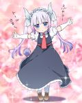 1girl :o ankle_boots bangs black_dress blunt_bangs blush boots brown_footwear child collared_shirt cosplay dragon_horns dress elbow_gloves eyebrows_visible_through_hair frills full_body gloves hairband horns kanna_kamui kobayashi-san_chi_no_maidragon lolita_hairband long_hair looking_at_viewer necktie open_mouth outstretched_arms pikomarie pinafore_dress pink_background pink_hair red_neckwear shirt solo sparkle spread_arms standing tail tooru_(maidragon) tooru_(maidragon)_(cosplay) translation_request twintails white_gloves white_legwear wing_collar