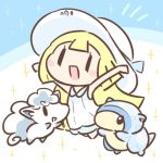 1girl alolan_form alolan_sandshrew alolan_vulpix cafe_(chuu_no_ouchi) chibi dress gen_1_pokemon hat lillie_(pokemon) lowres open_mouth pokemon pokemon_(anime) pokemon_(creature) pokemon_sm_(anime) sleeveless sleeveless_dress sun_hat white_dress white_hat
