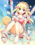 1girl amanatsu_purin_(yadapot) ankle_scrunchie bangs barefoot blonde_hair blush bow breasts cleavage collarbone commentary_request dress dutch_angle eyebrows_visible_through_hair fingernails flower hair_between_eyes hair_bow hair_flower hair_ornament hairclip high_heels holding long_hair looking_at_viewer medium_breasts nail_polish original pink_bow pink_dress pink_flower pink_nails pink_rose puffy_short_sleeves puffy_sleeves rose sandals scrunchie shoes short_sleeves single_shoe sitting solo swing toenail_polish toenails two_side_up very_long_hair white_flower white_footwear white_scrunchie yadapot