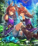 2girls absurdres animal_ears arm_support armor bird black_gloves blue_neckwear blue_sky brown_footwear brown_hair day dragon dress elbow_gloves eyebrows_visible_through_hair floating_hair gloves hair_between_eyes highres igarashi_youhei long_hair looking_at_viewer multiple_girls outdoors purple_dress red_eyes shingeki_no_bahamut short_dress shorts shorts_under_dress sitting sky sleeping sleeveless sleeveless_dress smile tuxedo white_shorts