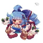 1girl ;d ahoge animal bangs baozi blue_bow blue_cloak blue_dress blue_hair blunt_bangs blush bow brown_eyes chibi cloak commentary_request dress eyebrows_visible_through_hair food fur-trimmed_cloak fur_trim hair_bow hair_ornament holding holding_food leaf long_hair looking_at_viewer muuran one_eye_closed open_mouth pig rocca_(shironeko_project) rope shironeko_project sidelocks simple_background smile solo thick_eyebrows very_long_hair white_background