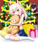 3girls :d animal_ears ayanami_(azur_lane) azur_lane black_hair box christmas_tree doll_hug gift gift_box hat headgear insider_(pix_insider) long_hair looking_at_viewer multiple_girls nowaki_(azur_lane) open_mouth peeking_out pleated_skirt ponytail red_eyes santa_hat school_uniform serafuku shigure_(azur_lane) silver_hair sitting skirt smile stuffed_animal stuffed_chicken stuffed_toy teddy_bear wariza wolf_ears yellow_eyes