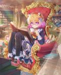 1girl absurdres animal_ears black_legwear blonde_hair blue_dress blurry blurry_foreground book book_stack bookshelf borrowed_character bow bowtie cabinet closed_mouth commentary_request cup curtains daikazoku63 day depth_of_field dress flower glasses globe gradient_hair hair_ornament high_heels highres indoors knees_up library light_rays long_sleeves looking_at_viewer multicolored_hair open_book original pantyhose pink_footwear plant pot potted_plant purple_hair red-framed_eyewear short_hair sitting smile solo teacup throne violet_eyes yellow_neckwear