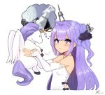 1girl ahoge azur_lane blush commentary_request detached_sleeves dress edward_montenegro hair_bun hair_ribbon imagining lifting long_hair one_side_up parted_lips purple_hair ribbon side_bun simple_background stuffed_alicorn stuffed_animal stuffed_pegasus stuffed_toy stuffed_unicorn unicorn_(azur_lane) violet_eyes white_background white_dress