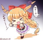 >_< 1girl :o artist_name belt black_background black_belt black_footwear blonde_hair blouse bow chibi commentary_request eyebrows_visible_through_hair fang fleeing frilled_blouse gradient gradient_background grey_background hair_bow hair_ribbon horn_ribbon horns ibuki_suika long_hair neck_bow no_nose oni oni_horns open_mouth purple_background purple_ribbon purple_skirt ramudia_(lamyun) red_bow red_neckwear ribbon running shadow shirt shoe_bow shoes skirt sleeveless sleeveless_shirt socks solo tears touhou translation_request twitter_username very_long_hair white_background white_blouse white_legwear white_ribbon wrist_cuffs