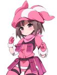 1girl absurdres bandanna brown_hair commentary_request gloves hat highres llenn_(sao) long_sleeves looking_at_viewer morino_donguri pink_bandana pink_eyes pink_gloves pink_hat short_hair simple_background solo sword_art_online sword_art_online_alternative:_gun_gale_online uniform white_background