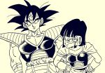 1boy 1girl adapted_costume alternate_hair_length alternate_hairstyle armor bangs breasts capelet chi-chi_(dragon_ball) cleavage collarbone commentary_request dragon_ball dragonball_z frown hands_on_hips highres ink_(medium) lee_(dragon_garou) medium_breasts monochrome muscle scar scouter shoulder_pads smile son_gokuu sweatdrop traditional_media wrist_cuffs