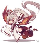 1girl :< adapted_costume ahoge alternate_hairstyle baggy_pants bangs blush bow brown_eyes closed_mouth collared_shirt commentary_request expressionless fiery_wings flying fujiwara_no_mokou hair_between_eyes hair_bow high_ponytail long_hair long_sleeves looking_at_viewer looking_to_the_side midriff muuran ofuda pants ponytail red_footwear red_pants ribbon-trimmed_sleeves ribbon_trim shiny shiny_hair shirt shoes sidelocks signature silver_hair sleeves_past_fingers sleeves_past_wrists solo suspenders touhou very_long_hair white_background white_bow white_shirt