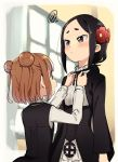 2girls :< adjusting_another's_clothes bangs beatrice_(princess_principal) black_eyes black_hair black_neckwear black_ribbon blush brown_eyes brown_hair double_bun dressing_another flower frilled_shirt_collar frills from_behind hair_flower hair_ornament long_sleeves multiple_girls neck_ribbon niina_ryou open_mouth princess_principal profile red_flower ribbon school_uniform squiggle toudou_chise vest window