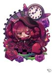 1girl :d beret black_capelet black_dress black_hat blush brown_hair capelet checkered checkered_floor chibi clock commentary_request curled_horns demon_girl demon_horns demon_tail dress eyepatch fang fire frilled_capelet frills fur_collar gothic_lolita hat heart heart_eyepatch highres horns lolita_fashion muuran no_shoes open_mouth original pantyhose purple_hair red_legwear signature smile solo star tail white_background