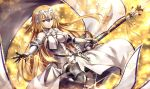 1girl armor armored_dress bangs banner bare_shoulders black_gloves black_legwear blonde_hair blue_eyes blurry blurry_background blush breasts chains cleavage cleavage_cutout closed_mouth collarbone commentary_request dress elbow_gloves elbow_pads eyebrows_visible_through_hair fate/grand_order fate_(series) faulds floating_hair fur-trimmed_gloves fur-trimmed_legwear fur_trim gabiran gauntlets gloves greaves headpiece holding holding_spear holding_weapon jeanne_d'arc_(fate) jeanne_d'arc_(fate)_(all) lens_flare light_particles light_trail long_dress long_hair looking_at_viewer medium_breasts one_leg_raised orange_background orange_ribbon outstretched_arm plackart polearm ribbon sheath sheathed shiny shiny_hair smile solo spear standard_bearer sword thigh-highs underbust very_long_hair weapon white_dress wind yellow_background