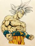 1boy abs clenched_hands dirty dragon_ball dragon_ball_super frown highres lee_(dragon_garou) male_focus marker_(medium) muscle profile serious shirtless silver_hair solo son_gokuu toriyama_akira_(style) traditional_media ultra_instinct wristband