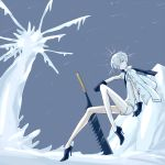 1other androgynous antarcticite bent_knees blue_footwear blue_gloves cojimama commentary_request full_body gloves grey_eyes high_heels holding holding_sword holding_weapon houseki_no_kuni long_sleeves looking_at_viewer outdoors pale_skin short_hair silver_hair sitting sword weapon