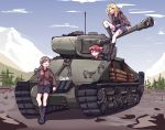 absurdres against_object alisa_(girls_und_panzer) arm_support artist_name bangs black_footwear black_shirt black_shorts blue_shorts boots brown_jacket closed_mouth commentary_request day english_commentary frown girls_und_panzer ground_vehicle highres jacket kay_(girls_und_panzer) leaning_back long_hair long_sleeves looking_at_another looking_back m4_sherman military military_uniform military_vehicle motor_vehicle naomi_(girls_und_panzer) open_clothes open_jacket open_mouth outdoors saunders_military_uniform shirt short_hair short_twintails shorts signature sitting smile standing tank tegar32 thigh-highs twintails uniform very_short_hair waving white_legwear