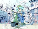 1girl arm_support blue_eyes blue_hair blue_jacket blue_pants boots cup daisy drinking eyebrows_visible_through_hair flower full_body green_footwear ground_vehicle hair_bobbles hair_ornament helmet highres jacket kawashiro_nitori key key_necklace legs_crossed long_sleeves motor_vehicle moyazou_(kitaguni_moyashi_seizoujo) mug open_clothes open_jacket pants petals phone pocket power_lines road_sign scooter sign smokestack solo standing strapless touhou traffic_cone traffic_mirror tubetop two_side_up unzipped wheel white_flower zipper zipper_pull_tab