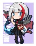 1girl admiral_graf_spee_(azur_lane) azur_lane bag black_dress black_legwear blue_eyes boots bugles chibi commentary_request dress eating hydrock looking_at_viewer machinery multicolored_hair necktie pantyhose plastic_bag shopping_bag short_hair silver_hair snack solo turret two-tone_hair