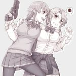 2girls :d anger_vein black_legwear blonde_girl_(itou) blush bow bowtie breasts bursting_breasts clenched_teeth clothes_around_waist collared_shirt commentary_request eye_contact finger_on_trigger grey_background greyscale gun handgun highres itou_(onsoku_tassha) jacket_around_waist large_breasts long_hair long_sleeves looking_at_another monochrome multiple_girls open_mouth original outline pantyhose pistol pleated_skirt ponytail shirt simple_background skirt smile spoken_squiggle squiggle sweatdrop tears teeth vest weapon wide-eyed wing_collar wrist_grab