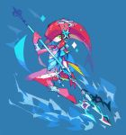 1girl amakusa_(hidorozoa) anklet barefoot bracelet closed_mouth green_eyes hand_up holding holding_weapon jewelry legs_together looking_at_viewer mipha red_skin smile solo tentacle_hair the_legend_of_zelda the_legend_of_zelda:_breath_of_the_wild weapon zora