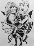 3girls antennae aozora_taf artist_name bare_arms bird_wings boots bow butterfly_wings capelet closed_mouth corset demon_tail dress eternity_larva eyebrows_visible_through_hair fangs from_behind greyscale hair_between_eyes hair_ornament hand_up hands_together hat hat_bow high_heels koakuma leaf_hair_ornament long_hair long_sleeves looking_at_viewer looking_back monochrome multiple_girls open_mouth pointy_ears short_hair simple_background skirt smile staring tail touhou traditional_media usami_renko wings