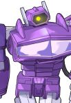 1boy 80s decepticon glowing glowing_eyes highres kotone_a looking_at_viewer no_humans oldschool shockwave_(transformers) simple_background solo transformers white_background yellow_eyes