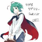 1girl :o antennae asutora bag black_cape blush breasts cape commentary_request cowboy_shot dated green_eyes green_hair handbag head_tilt holding holding_bag long_sleeves medium_breasts open_mouth shirt short_hair simple_background smile solo standing touhou translation_request v_arms white_background white_shirt wriggle_nightbug