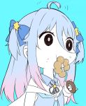 1girl \m/ ahoge blue_background blue_hair bow commentary_request copyright_request doughnut eating emphasis_lines food food_on_face gradient_hair hair_between_eyes hair_bow hair_ornament mouth_hold multicolored_hair nanakagura nandemo_iu_koto_wo_kiite_kureru_akane-chan_(voiceroid) neck_ribbon pink_hair ribbon simple_background solo star star_hair_ornament symbol_in_eye two_side_up wrist_cuffs