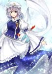 1girl absurdres blue_eyes blue_nails blue_vest breasts dress frilled_dress frills frills-and-trash grey_hair hat highres juliet_sleeves letty_whiterock long_sleeves looking_at_viewer medium_breasts medium_hair nail_polish puffy_sleeves shawl snowflakes solo sparkle star touhou vest white_dress white_hat wide_sleeves