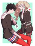 1boy 1girl 2017 adjusting_eyewear amamiya_ren amamiya_ren_(cosplay) atlus bespectacled birthday black_hair blazer blonde_hair cosplay costume_switch crossdressing glasses hand_on_own_neck happy_birthday heart hood hoodie jacket megami_tensei pants pantyhose persona persona_5 plaid plaid_pants plaid_skirt sawa2 shuujin_academy_uniform skirt smile spoken_heart spoken_squiggle squiggle takamaki_anne takamaki_anne_(cosplay) turtleneck twintails