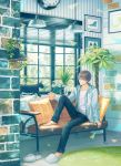 1boy barefoot boots brick_wall brown_hair cat clock converse couch daisy denim flower glasses hood hoodie indoors jeans lamp light_smile male_focus original painting_(object) pants pillow plant potted_plant rug short_hair sitting slippers slippers_removed solo suda_ayaka vines window wooden_floor