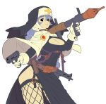 1girl absurdres belt black_dress black_eyes breasts cape choker cleavage cleavage_cutout cross dress fengmo_bojue fishnet_legwear fishnets garter_straps gun habit handgun highres large_breasts lips looking_at_viewer machine_gun nun original pistol purple_background purple_hair rocket_launcher rpg side_slit smile solo weapon white_background white_cape work_in_progress