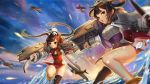 2girls aircraft airplane animal animal_on_head asymmetrical_legwear azur_lane bangs bird black_legwear blue_sky breasts brown_hair cannon china_dress chinese_clothes clouds commentary_request day dress fur-trimmed_jacket fur_trim hair_rings hairpods jacket long_hair long_sleeves looking_at_viewer medium_breasts motion_blur multiple_girls nima_(niru54) ning_hai_(azur_lane) ocean on_head outdoors panda parted_lips pelvic_curtain ping_hai_(azur_lane) puffy_long_sleeves puffy_sleeves purple_dress red_dress red_eyes single_thighhigh sky standing standing_on_one_leg thigh-highs twintails very_long_hair water white_jacket