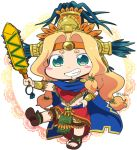1girl aztec bead_necklace beads blonde_hair blue_cape blush_stickers bracer brown_footwear cape chibi chin_piercing fate/grand_order fate_(series) feathers green_eyes grin groin hair_beads hair_intakes hair_ornament hand_on_hip headband headdress holding holding_sword holding_weapon jewelry leg_up loincloth long_hair low-tied_long_hair miniskirt neck_ring necklace outstretched_arm piercing poncho quetzalcoatl_(fate/grand_order) red_skirt sandals sharp_teeth shoulder_pads skirt smile solo standing standing_on_one_leg sword teeth tsukko_(3ki2ne10) twitter_username very_long_hair weapon