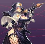 1girl absurdres black_dress blue_hair breasts cape choker cleavage cleavage_cutout cross dress fengmo_bojue fishnet_legwear fishnets garter_straps gun habit handgun highres large_breasts lips looking_at_viewer machine_gun nun original pistol purple_background red_eyes rocket_launcher rpg side_slit smile solo weapon white_cape