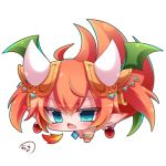 1girl ahoge all_fours bangs blue_eyes blush breathing_fire brown_hair chestnut_mouth chibi commentary_request dragon_girl dragon_horns earrings eyebrows_visible_through_hair fang fire green_wings hair_between_eyes hair_ornament horns jewelry looking_at_viewer muuran open_mouth pointy_ears shironeko_project signature simple_background solo tetra_(shironeko_project) twintails white_background wings