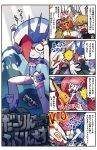 1boy 4koma artist_name blonde_hair blue_eyes bright_pupils comic copyright_name darling_in_the_franxx delphinium_(darling_in_the_franxx) glasses gorou_(darling_in_the_franxx) headbutt helmet highres mato_(mozu_hayanie) mecha open_mouth pilot_suit sharp_teeth slapping strelizia sweat tearing_up teeth