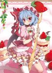 1girl beni_kurage blue_hair blush cake choker collarbone commentary_request dress eyebrows_visible_through_hair fang fang_out food fork frilled_dress frills fruit hair_between_eyes hat hat_ribbon highres holding holding_fork kneeling leaf leg_garter looking_at_viewer macaron mob_cap nail_polish no_shoes petticoat pink_dress pink_hat pink_nails puffy_short_sleeves puffy_sleeves red_choker red_eyes red_ribbon red_sash remilia_scarlet ribbon short_hair short_sleeves single_thighhigh smile solo strawberry thigh-highs touhou white_legwear wrist wrist_cuffs