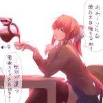 1girl absurdres artist_name blue_skirt bow brown_hair chair check_translation coffee coffee_mug coffee_pot cup doki_doki_literature_club elbows_on_table green_eyes highres long_hair looking_at_another looking_to_the_side monika_(doki_doki_literature_club) mug open_mouth pin.s ponytail pouring saucer school_uniform sitting skirt smile speech_bubble table thigh-highs translation_request very_long_hair yuri